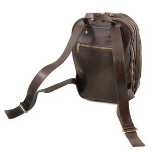 Rear And Shoulder Straps View Of The Dark Brown Leather Laptop Backpack