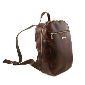 Angled View Of The Dark Brown Leather Laptop Backpack