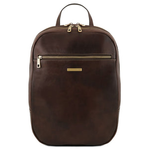 Front View Of The Dark Brown Leather Laptop Backpack
