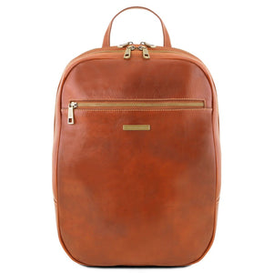 Front View Of The Honey Leather Laptop Backpack