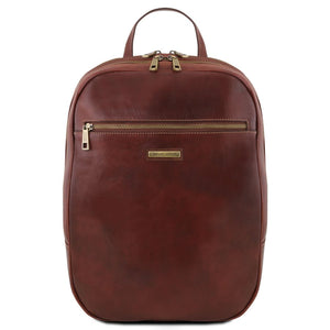 Front View Of The Brown Leather Laptop Backpack