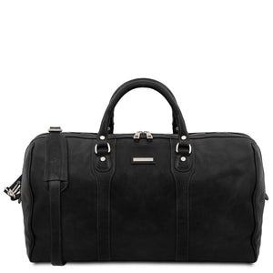 The Front View Of The Black Leather Travel Duffel Bag