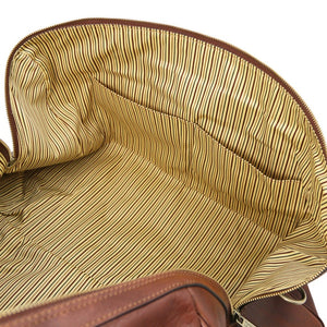 Internal Pocket View Of The Brown Leather Travel Duffel Bag