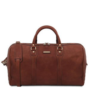 The Front View Of The Brown Leather Travel Duffel Bag
