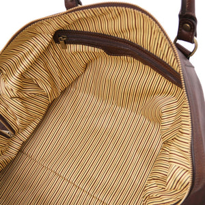 Internal Zip View Of The Dark Brown Leather Travel Duffel Bag