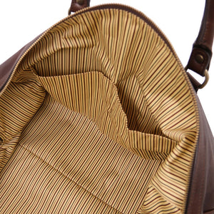 Internal Pocket View Of The Dark Brown Leather Travel Duffel Bag