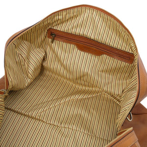 Internal Zip View Of The Natural Leather Travel Duffel Bag