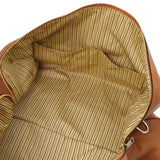 Internal Pocket View Of The Natural Leather Travel Duffel Bag