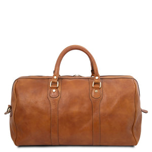 Rear View Of The Natural Leather Travel Duffel Bag