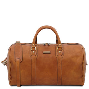The Front View Of The Natural Leather Travel Duffel Bag