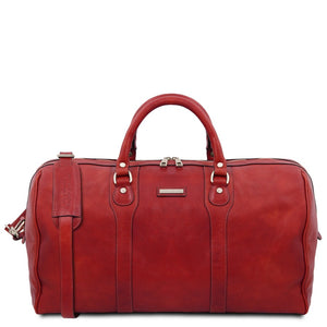 The Front View Of The Red Leather Travel Duffel Bag