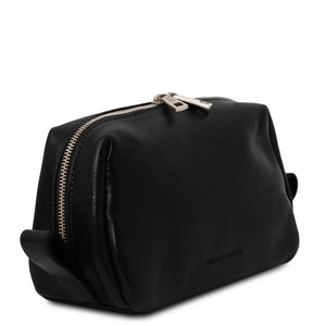 Angled View Of The Black Travel Wash Bag