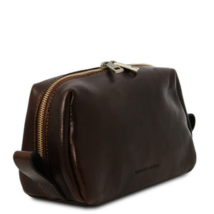 Angled View Of The Dark Brown Travel Wash Bag
