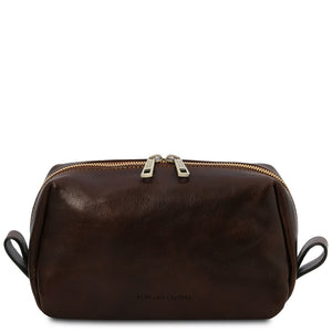 Front View Of The Dark Brown Travel Wash Bag