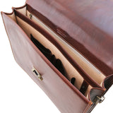 Internal Features View Of The Brown Mens Leather Briefcase