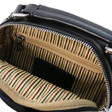 Internal Zip Pocket View Of The Black Crossbody Bag Leather