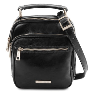 Front View Of The Black Crossbody Bag Leather