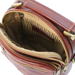 Top Opening View Of The Brown Crossbody Bag Leather