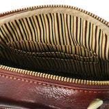 Internal Pockets View Of The Brown Crossbody Bag Leather