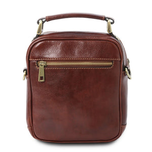 Rear View Of The Brown Crossbody Bag Leather