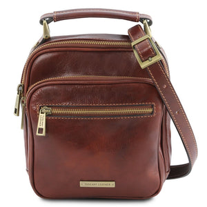 Front View Of The Brown Crossbody Bag Leather
