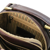 Internal Zip Pocket View Of The Dark Brown Crossbody Bag Leather