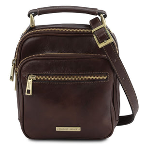 Front View Of The Dark Brown Crossbody Bag Leather