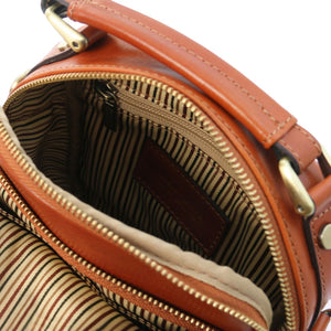 Internal Zip Pocket View Of The Honey Crossbody Bag Leather