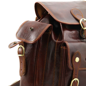 Side Pocket View Of The Brown Mens Leather Backpack