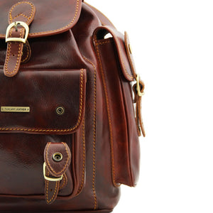 Corner And Side View Of The Brown Mens Leather Backpack