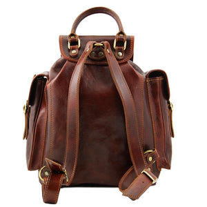 Rear Twin Shoulder Strap View Of The Brown Mens Leather Backpack
