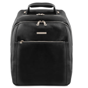 Front View Of The Black Mens Leather Laptop Backpack