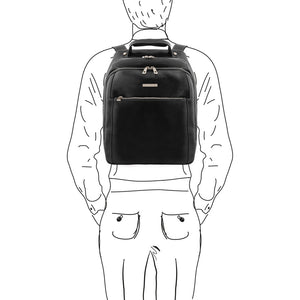 Sketch Of Man With The Black Mens Leather Laptop Backpack