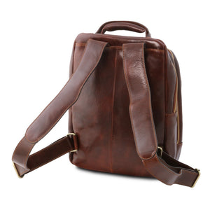 Rear Should Strap View Of The Brown Mens Leather Laptop Backpack