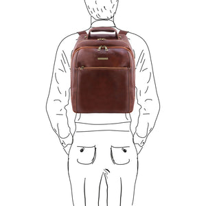 Sketch Of Man With The Brown Mens Leather Laptop Backpack