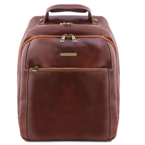 Front View Of The Brown Mens Leather Laptop Backpack