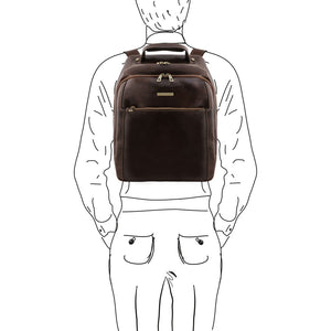 Sketch Of Man With The Dark Brown Mens Leather Laptop Backpack