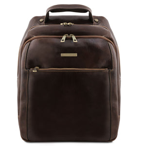 Front View Of The Dark Brown Mens Leather Laptop Backpack