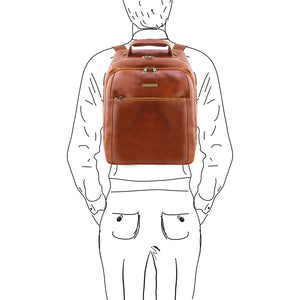 Sketch Of Man With The Honey Mens Leather Laptop Backpack