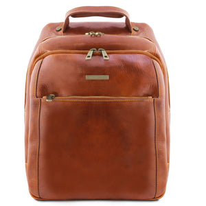 Front View Of The Honey Mens Leather Laptop Backpack