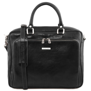 Front View Of The Black Leather Laptop Briefcase Bag