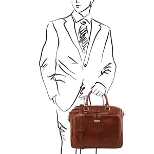 Man Posing With The Brown Leather Laptop Briefcase Bag