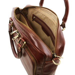 Internal Zip Pocket View Of The Brown Leather Laptop Briefcase Bag
