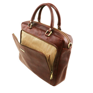 Front Zip Pocket View Of The Brown Leather Laptop Briefcase Bag