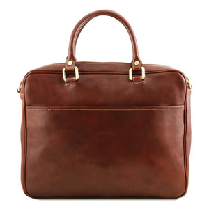 Rear View Of The Brown Leather Laptop Briefcase Bag