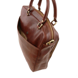 Rear Compartment View Of The Brown Leather Laptop Briefcase Bag