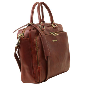 Angled View Of The Brown Leather Laptop Briefcase Bag