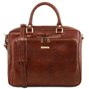 Front View Of The Brown Leather Laptop Briefcase Bag