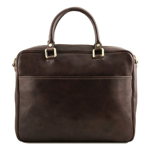 Rear View Of The Dark Brown Leather Laptop Briefcase Bag