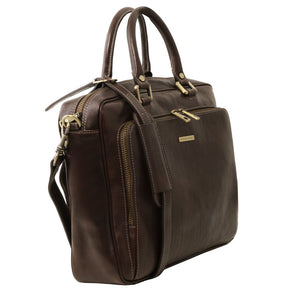 Angled View Of The Dark Brown Leather Laptop Briefcase Bag